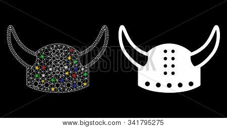 Glowing Mesh Horned Helmet Icon With Sparkle Effect. Abstract Illuminated Model Of Horned Helmet. Sh