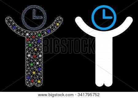 Glowing Mesh Time Manager Icon With Glare Effect. Abstract Illuminated Model Of Time Manager. Shiny