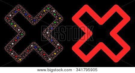 Flare Mesh Delete X-cross Icon With Glare Effect. Abstract Illuminated Model Of Delete X-cross. Shin