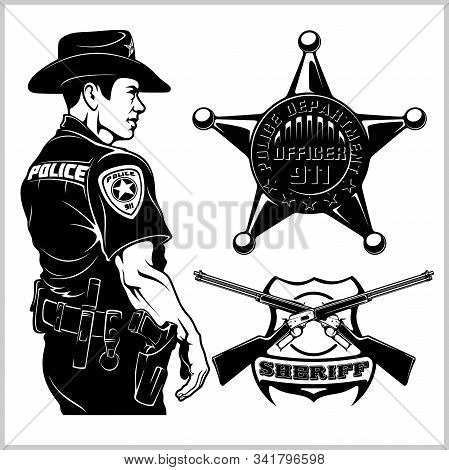 Sheriff Vector Set - Design Elements, Badge, Sheriff In Monochrome Style. Vector Illustration Isolat