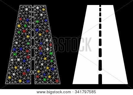 Glowing Mesh Straight Road Icon With Glare Effect. Abstract Illuminated Model Of Straight Road. Shin
