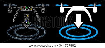 Glossy Mesh Copter Landing Icon With Lightspot Effect. Abstract Illuminated Model Of Copter Landing.