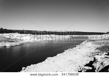 Black And White Stoned River Stream Course