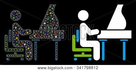 Glowing Mesh Grand Piano Performer Icon With Sparkle Effect. Abstract Illuminated Model Of Grand Pia