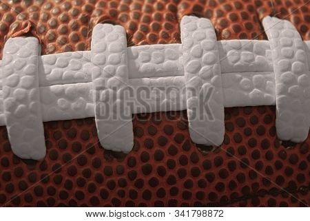 American Football Ball Typical Lace Close Up