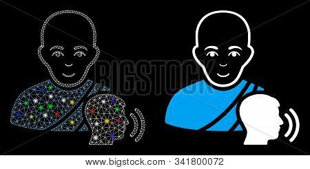Bright Mesh Buddhist Confession Icon With Glow Effect. Abstract Illuminated Model Of Buddhist Confes