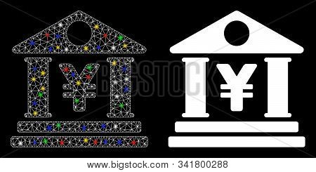 Glossy Mesh Yen Bank Building Icon With Lightspot Effect. Abstract Illuminated Model Of Yen Bank Bui