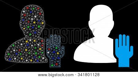 Bright Mesh Elector Icon With Glare Effect. Abstract Illuminated Model Of Elector. Shiny Wire Frame