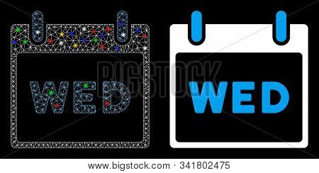 Glossy Mesh Wednesday Calendar Page Icon With Sparkle Effect. Abstract Illuminated Model Of Wednesda