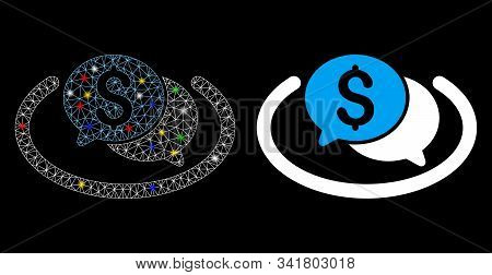 Flare Mesh Financial Chat Area Icon With Glitter Effect. Abstract Illuminated Model Of Financial Cha