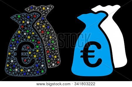 Flare Mesh Euro Funds Icon With Sparkle Effect. Abstract Illuminated Model Of Euro Funds. Shiny Wire