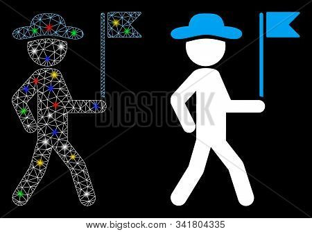 Glowing Mesh Gentleman Flag Guide Icon With Sparkle Effect. Abstract Illuminated Model Of Gentleman