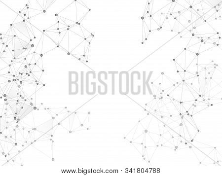 Big Data Cloud Scientific Concept. Network Nodes Greyscale Plexus Background. Nodes And Lines Polygo