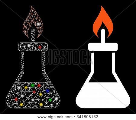 Flare Mesh Spirit Lamp Fire Icon With Glare Effect. Abstract Illuminated Model Of Spirit Lamp Fire.