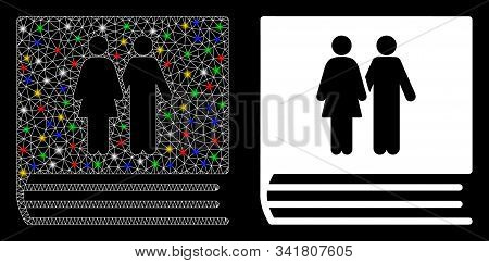Glossy Mesh Family Album Icon With Sparkle Effect. Abstract Illuminated Model Of Family Album. Shiny