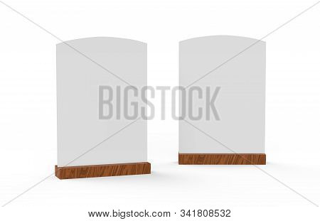 Blank Wooden Table Tent Mock Up Template On Isolated White Background, Table Talker Are Used For Men
