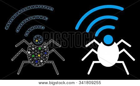 Flare Mesh Radio Spy Bug Icon With Sparkle Effect. Abstract Illuminated Model Of Radio Spy Bug. Shin