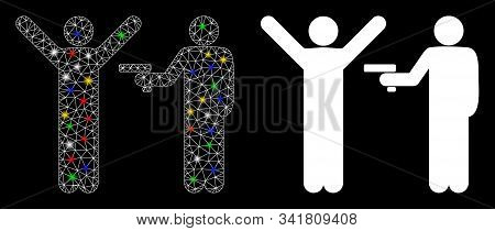 Flare Mesh Crime Robbery Icon With Glitter Effect. Abstract Illuminated Model Of Crime Robbery. Shin