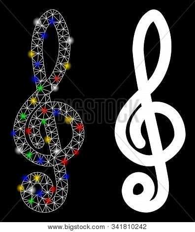 Glossy Mesh Musical Notation Icon With Sparkle Effect. Abstract Illuminated Model Of Musical Notatio