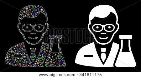 Glowing Mesh Chemist Icon With Lightspot Effect. Abstract Illuminated Model Of Chemist. Shiny Wire F