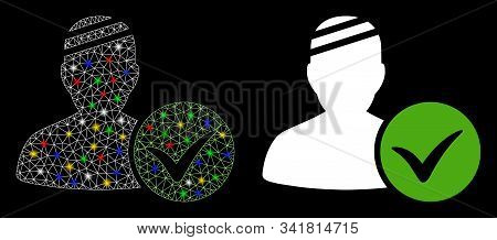 Glossy Mesh Patient Ok Icon With Glitter Effect. Abstract Illuminated Model Of Patient Ok. Shiny Wir