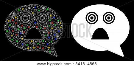 Glossy Mesh Afraid Smiley Message Icon With Lightspot Effect. Abstract Illuminated Model Of Afraid S