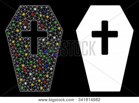 Flare Mesh Coffin Icon With Glitter Effect. Abstract Illuminated Model Of Coffin. Shiny Wire Frame P
