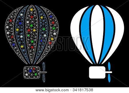 Flare Mesh Aerostat Balloon Icon With Glare Effect. Abstract Illuminated Model Of Aerostat Balloon.