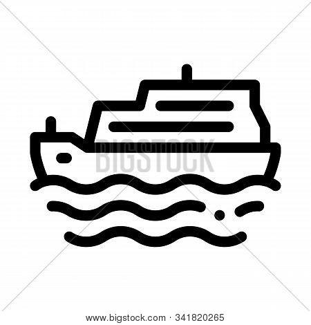 Pleasure Boat Icon Vector. Outline Pleasure Boat Sign. Isolated Contour Symbol Illustration