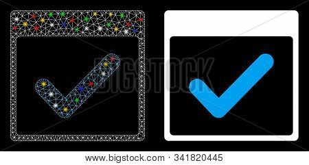 Flare Mesh Valid Day Calendar Page Icon With Glare Effect. Abstract Illuminated Model Of Valid Day C