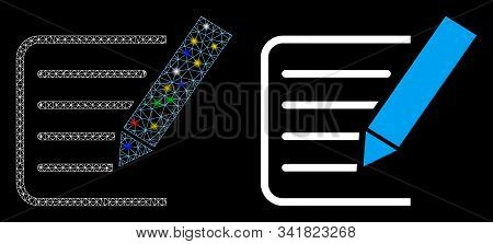 Glossy Mesh Sign Agreement Icon With Glitter Effect. Abstract Illuminated Model Of Sign Agreement. S