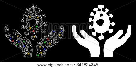 Glowing Mesh Biotechnology Care Hands Icon With Lightspot Effect. Abstract Illuminated Model Of Biot