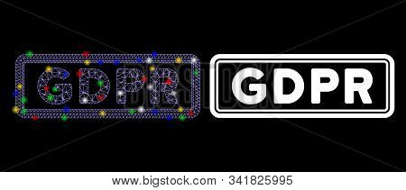 Glowing Mesh Gdpr Rectangle Icon With Glitter Effect. Abstract Illuminated Model Of Gdpr Rectangle.