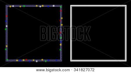 Flare Mesh Double Square Frame Icon With Lightspot Effect. Abstract Illuminated Model Of Double Squa