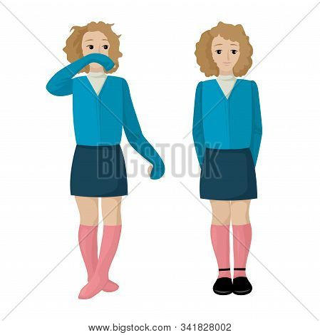 The Girl Is Untidy. Shaggy Girl In The Form Of Wiping Her Nose. A Diligent Student. Vector Illustrat