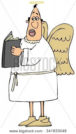Illustration Of A Male Angel Wearing Wings And A Gown Singing From An Open Hymnbook.