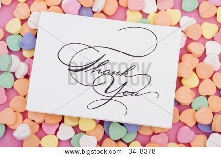 Thank you card on candy heart background poster