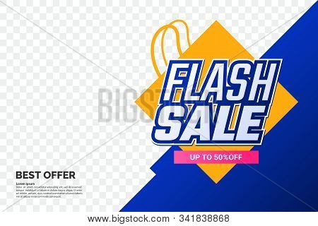 Flash Sale Promotion Banner With Text And Shopping Bag Symbol. Creative Discount Label Template. Geo