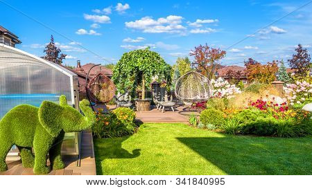 Moscow Region - Aug 24, 2019: Landscape Design At Residential House. Beautiful Landscaping In Home G