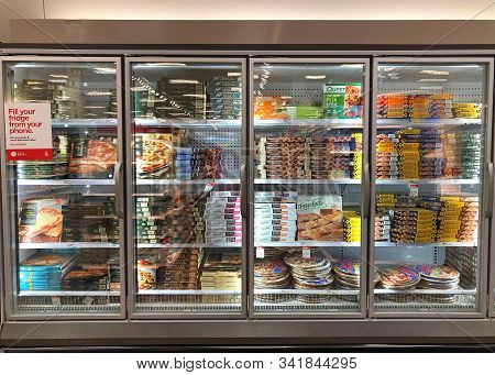 Emeryville, Ca - Oct 31, 2019: Grocery Store Refrigerator Aisle With Boxes And Packages Of Pre-made