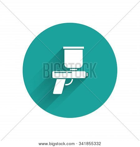 White Paint Spray Gun Icon Isolated With Long Shadow Background. Green Circle Button. Vector Illustr