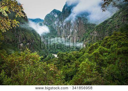 The canyon of Urubamba River near to  Machu Picchu Pueblo or Aguas Calientes town, Peru. South America.