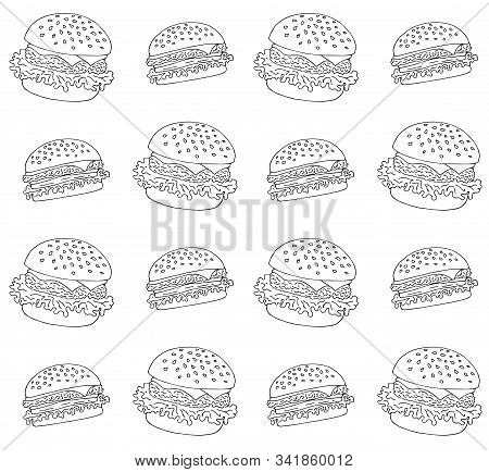 Vector Seamless Pattern Of Outline Hand Drawn Doodle Sketch Burger Isolated On White Background