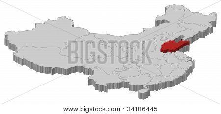 Map Of China, Shandong Highlighted