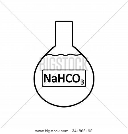 Laboratory Glass With Sodium Bicarbonate On White Background. Vector Illustration.