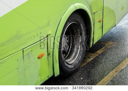 Bugibba, Malta - October 28, 2019: Neglected Technical Care Of Maltese Buses Shown At Rusty Bodywork