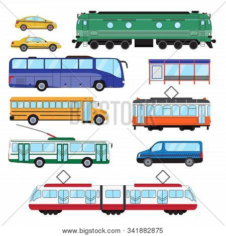 Urban Public Transport Set. Collection Of Bus, Minibus, Taxi, Tram, Train, Trolleybus, School Bus In