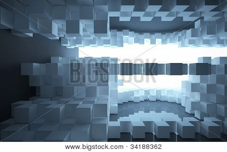 abstract architecture of the square white boxes