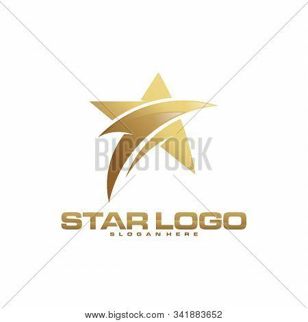 Luxury Gold Star Logo Designs Template, Elegant Star Logo Designs