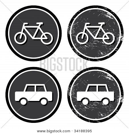 Bike and car retro label